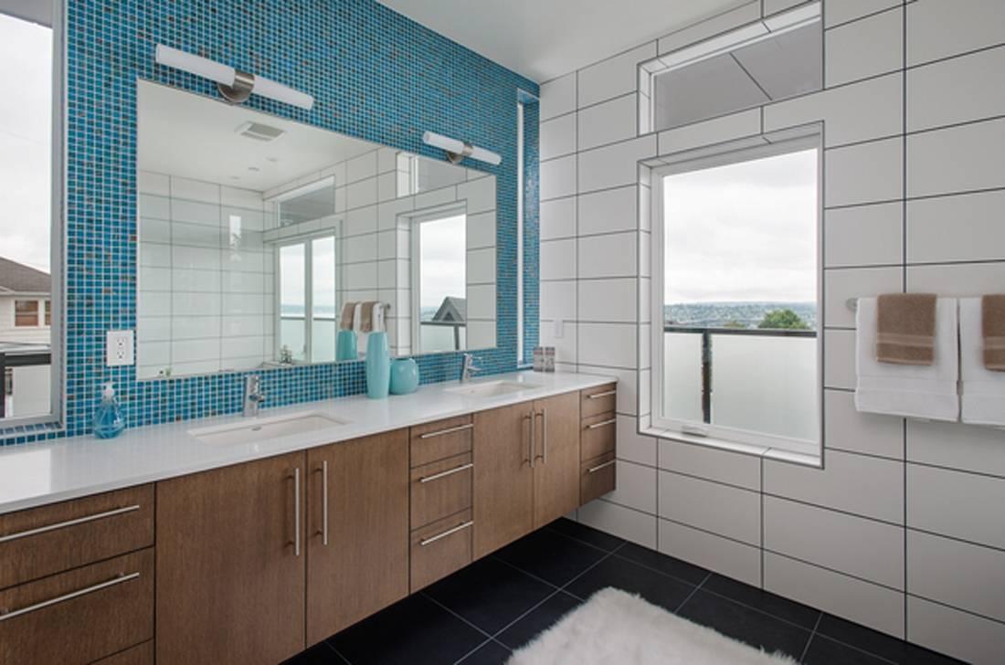 Spacious bathroom with large window