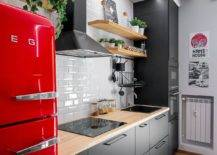 Stylish-modern-industrial-kitchen-in-white-wood-and-steely-gray-with-a-bright-red-vintage-refrigerator-65544-217x155