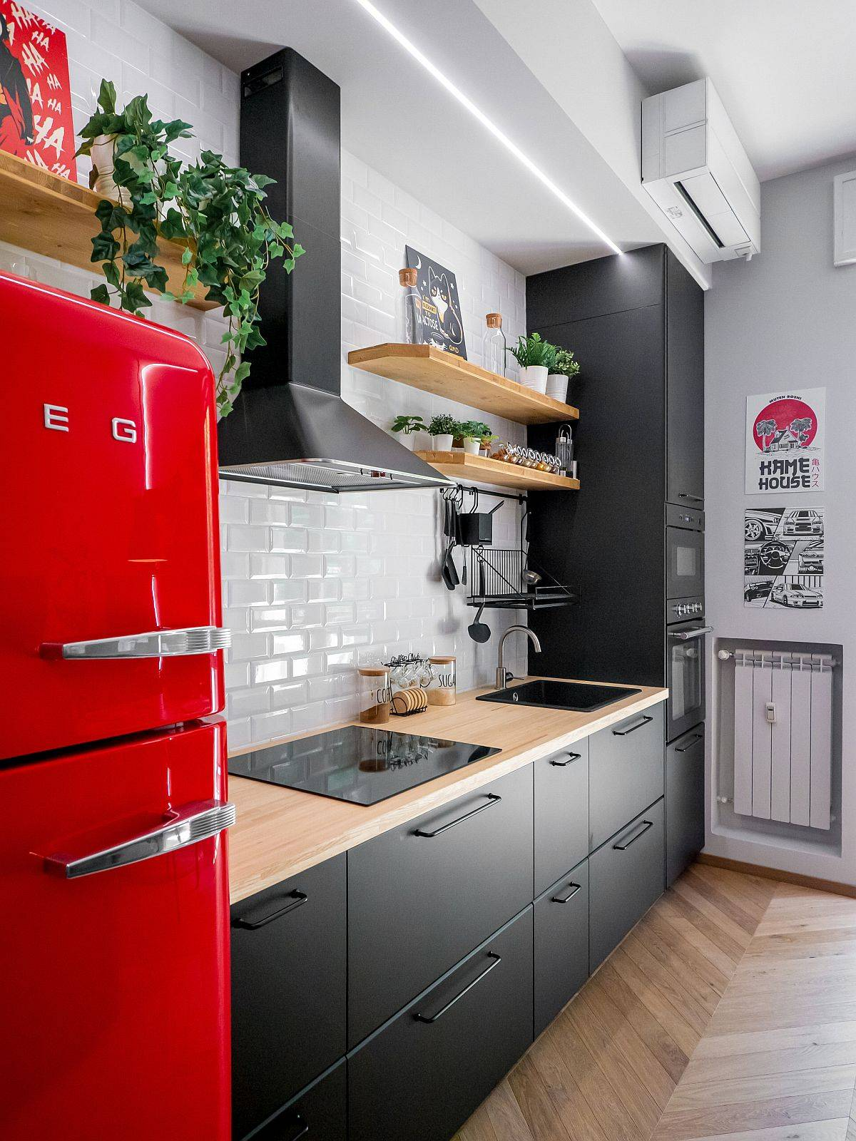 Stylish-modern-industrial-kitchen-in-white-wood-and-steely-gray-with-a-bright-red-vintage-refrigerator-65544