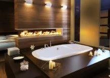 Sunken Bathtub with Fireplace
