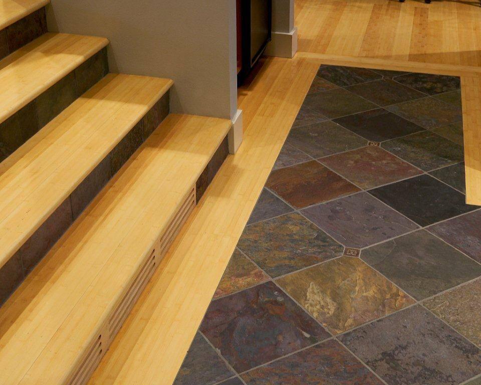 Travertine flooring in staircase landing