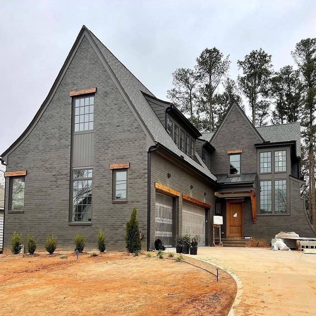 Two-door garage black house