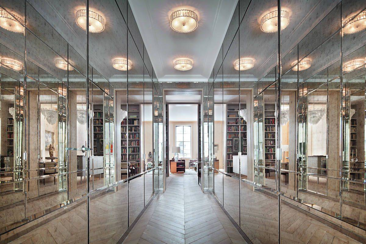 Visually-stunning-hallway-with-closets-that-feature-antique-mirrored-doors-75817