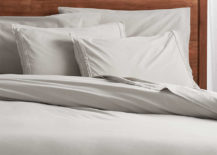 Washed organic cotton grey duvet covers and pillow shams