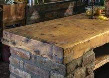 Wood countertop set on brick