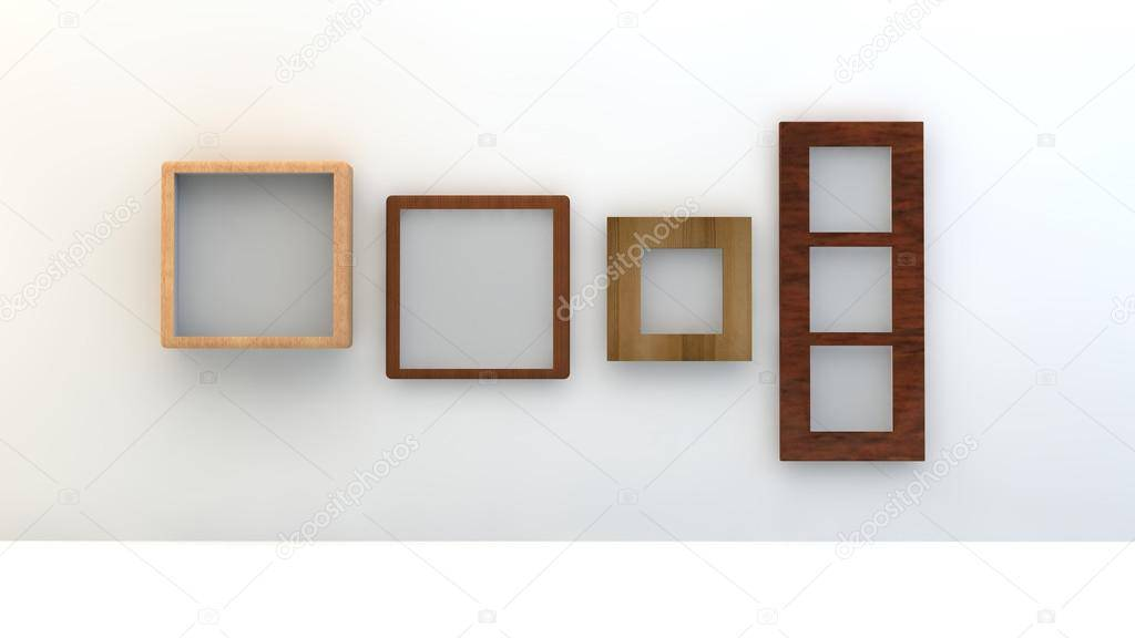 Bingkai seni terbuat dari kayu.