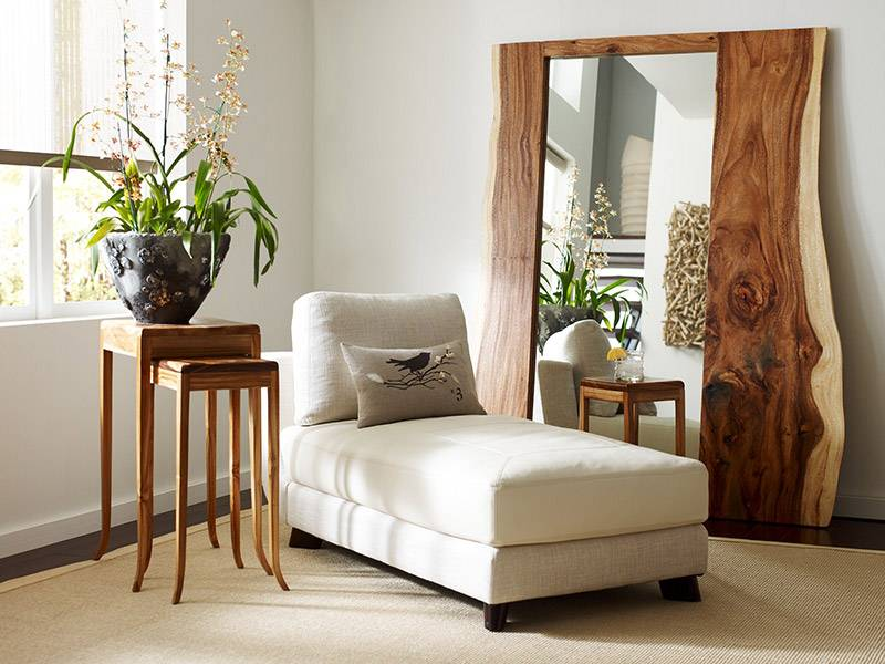 Wooden Edged Floor and Wall Mirrors