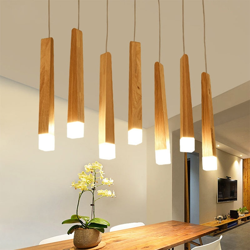 Wooden lights and Lamp Shade.