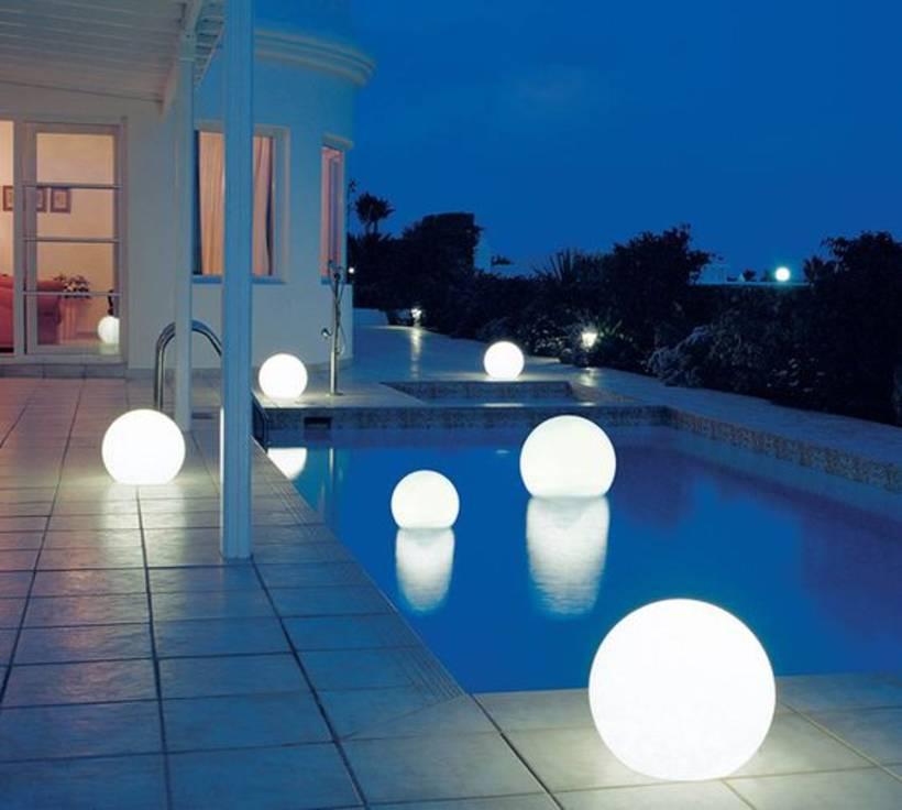 floating orb lights in pool