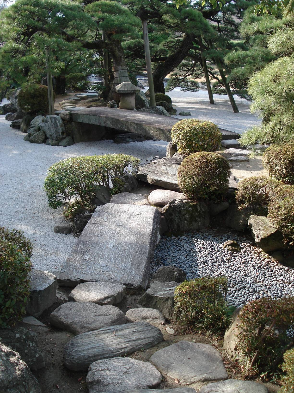 Sebuah halaman dengan batu