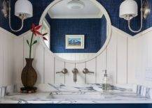 Beach-style-powder-room-in-blue-and-white-with-marble-countertop-and-plenty-of-textural-contrast-58436-217x155