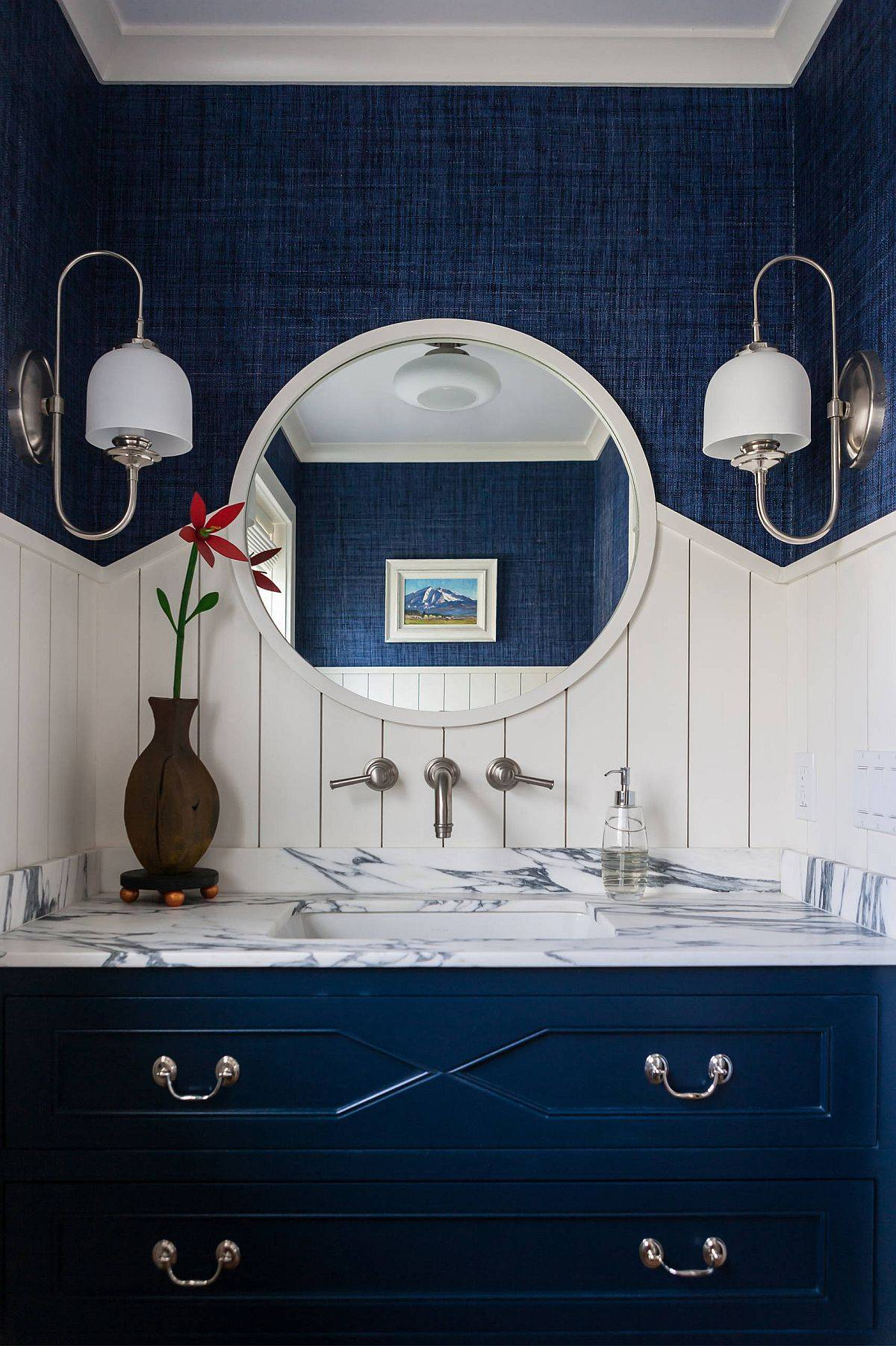 Beach-style-powder-room-in-blue-and-white-with-marble-countertop-and-plenty-of-textural-contrast-58436