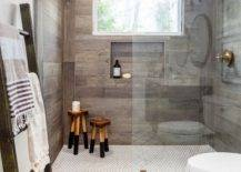 Bold Mosaic Tile Wall With Wood Tile Wall