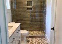 Bold Mosaic Tile Wall With Wood Tile Wall.