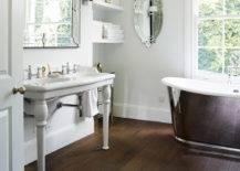 Charming Dark-Colored Wood Tile Bathroom Floor