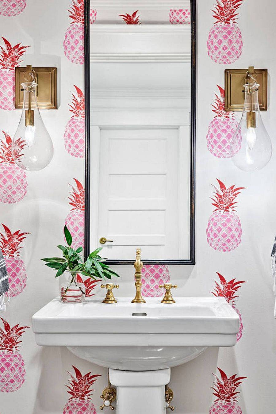 Cheerful-and-playful-wallpaper-with-pineapple-prints-in-pink-for-the-small-powder-room-80003
