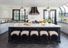 Chic White And Black Cabinets with Gold Accent