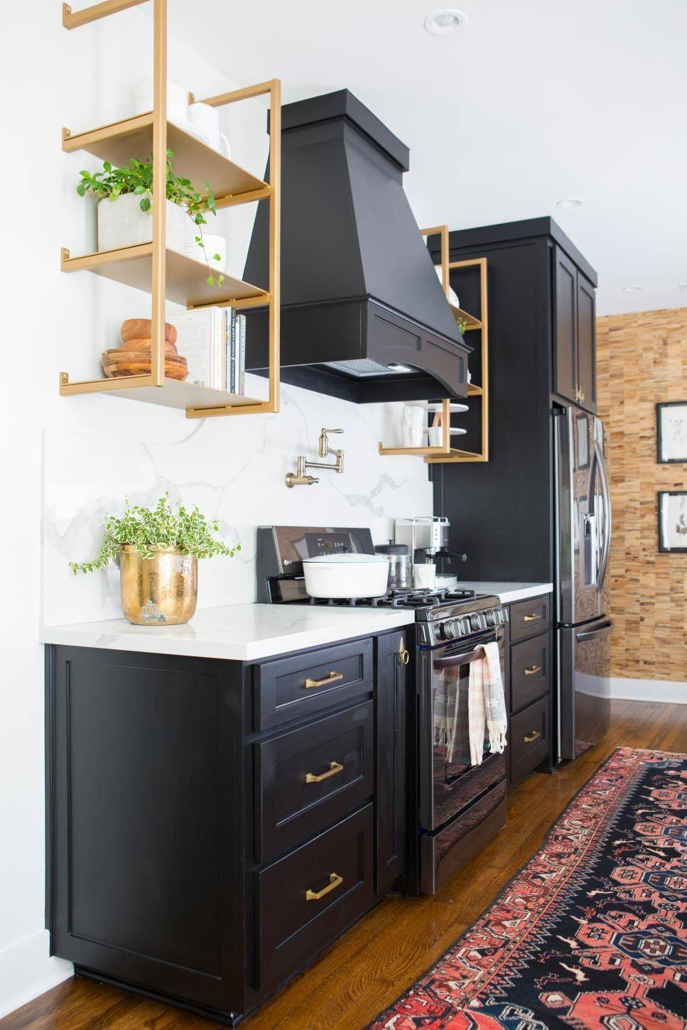 Chic White And Black Cabinets with Gold Accent.