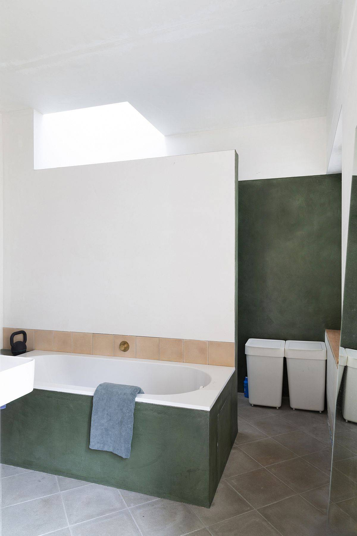 Contemporary-bathroom-in-neutral-hues-with-skylight-and-dark-green-accents-33868