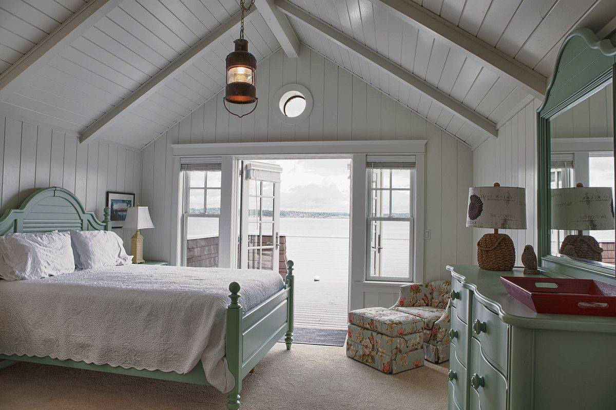 Cottage-style-bedroom-in-gray-with-bed-and-decor-in-pastel-green-94403