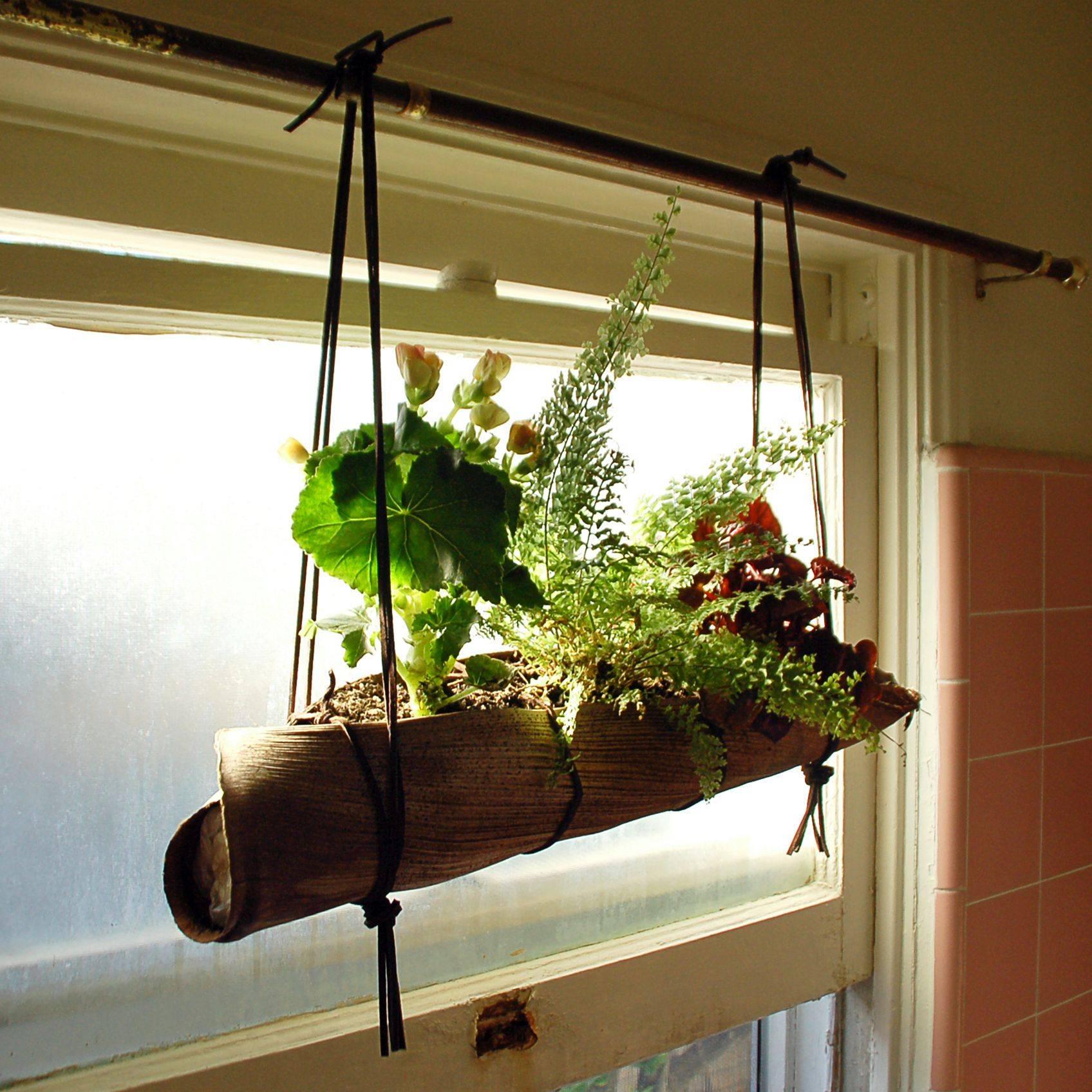 burlap wrapped cylinder hanging planter