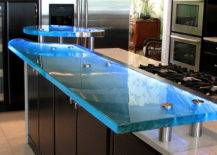 Dark Cabinetry with Glass Countertop.