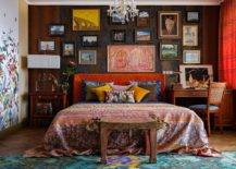 Eclectic-small-bedroom-in-Moscow-home-with-fabulous-gallery-wall-and-painted-walls-that-usher-in-ample-pattern-83415-217x155