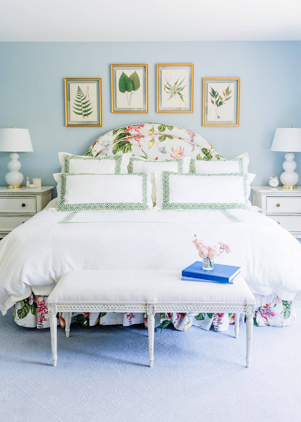 Elegant-traditional-bedroom-in-light-blue-and-white-with-botanicals-on-the-wall-56883
