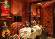 Eye-catching-orange-wallapaper-custom-stone-sink-and-puppet-artwork-with-Indian-theme-shape-a-truly-unique-eclectic-powder-room-28859-217x155