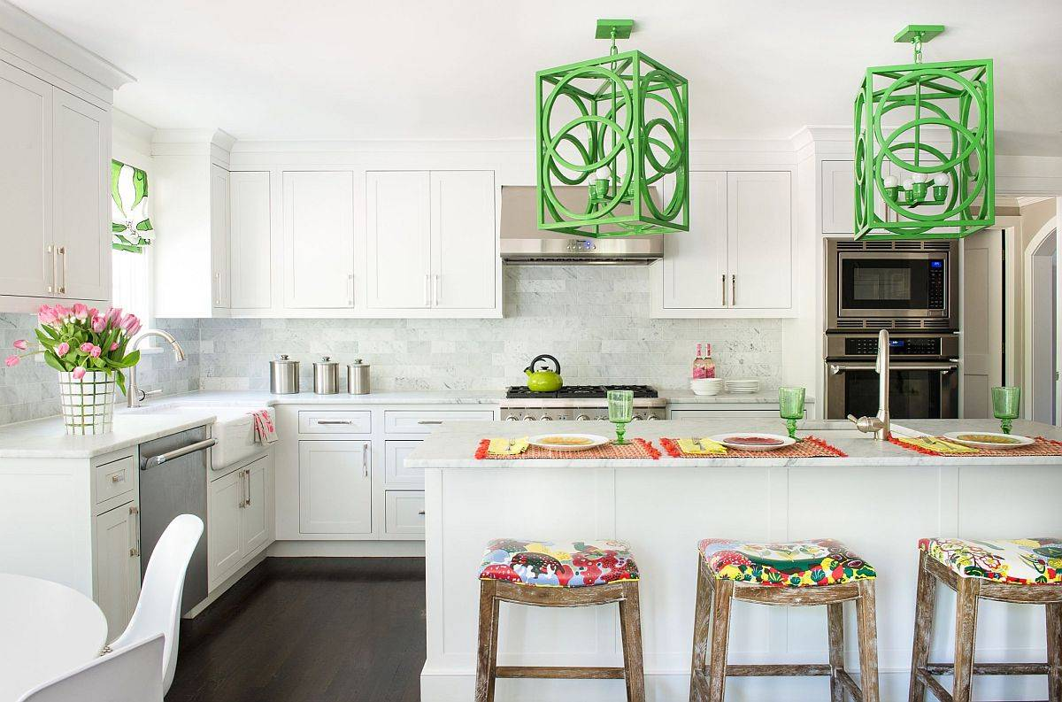 Eye-catching-over-sized-pendant-lights-bring-both-color-and-pattern-to-this-white-New-York-kitchen-65997