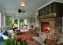 Fireplace on Porch.