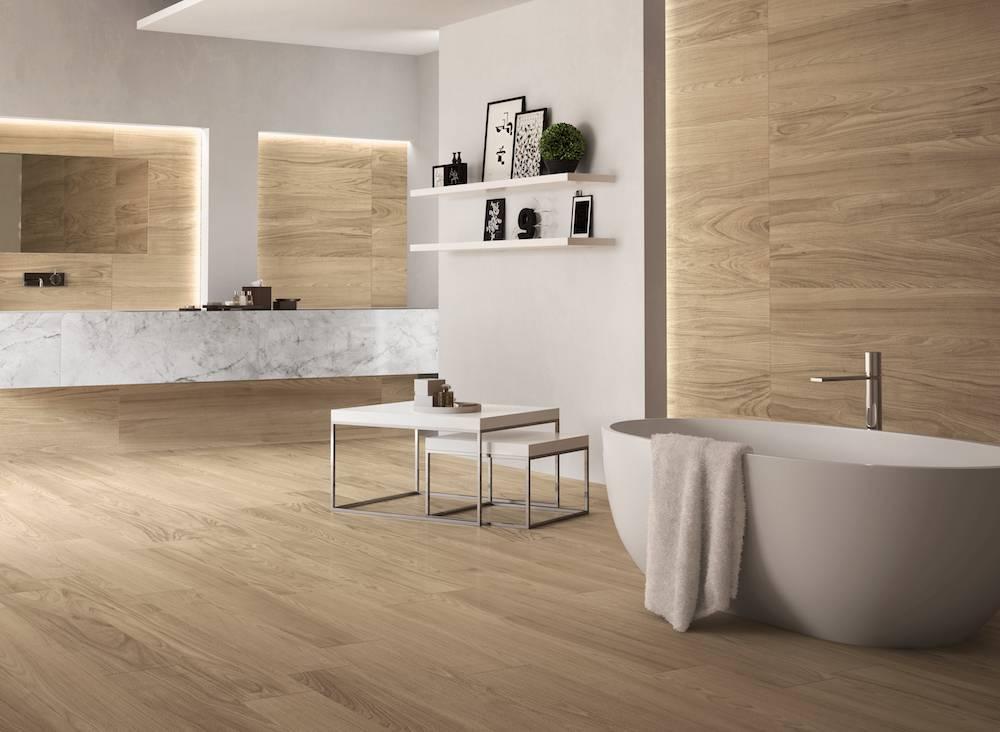 Full Wood Tile Bathroom With White Bathtub