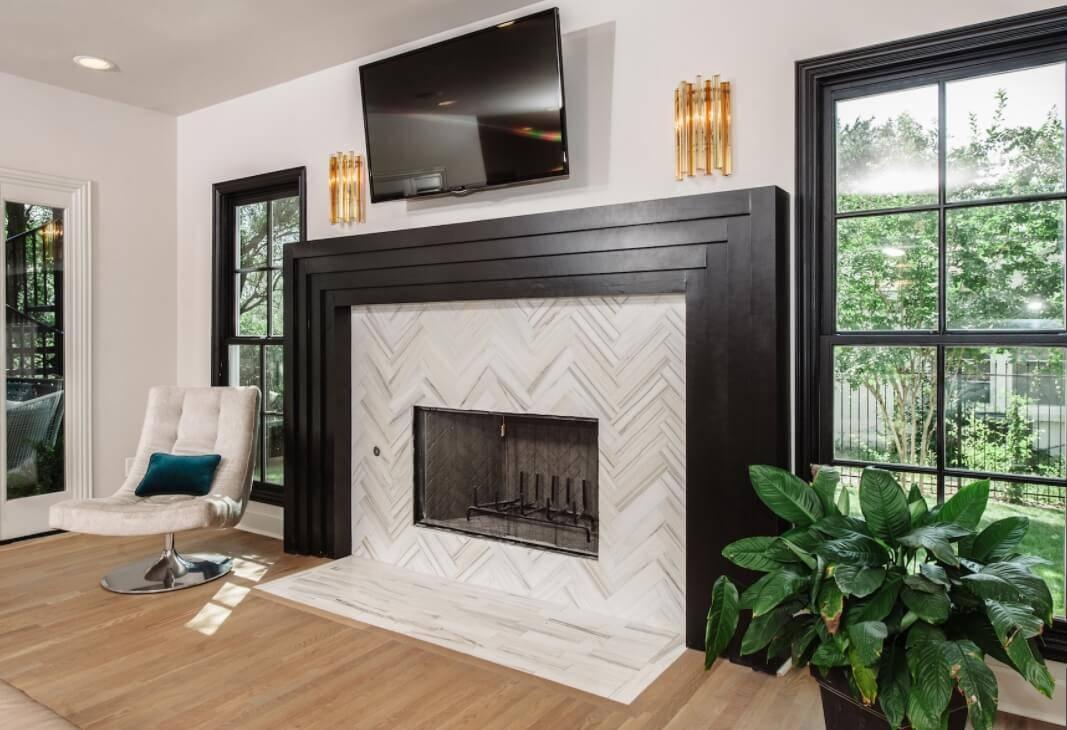Herringbone Fireplace Surround