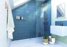 Herringbone Shower Wall