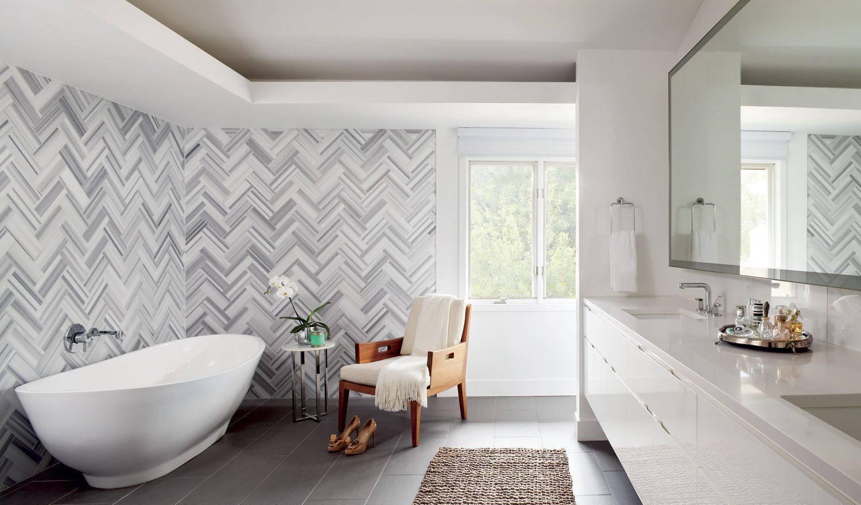 Herringbone Tile Bathroom Wall.