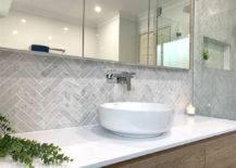 Herringbone Tile Bathroom Walls