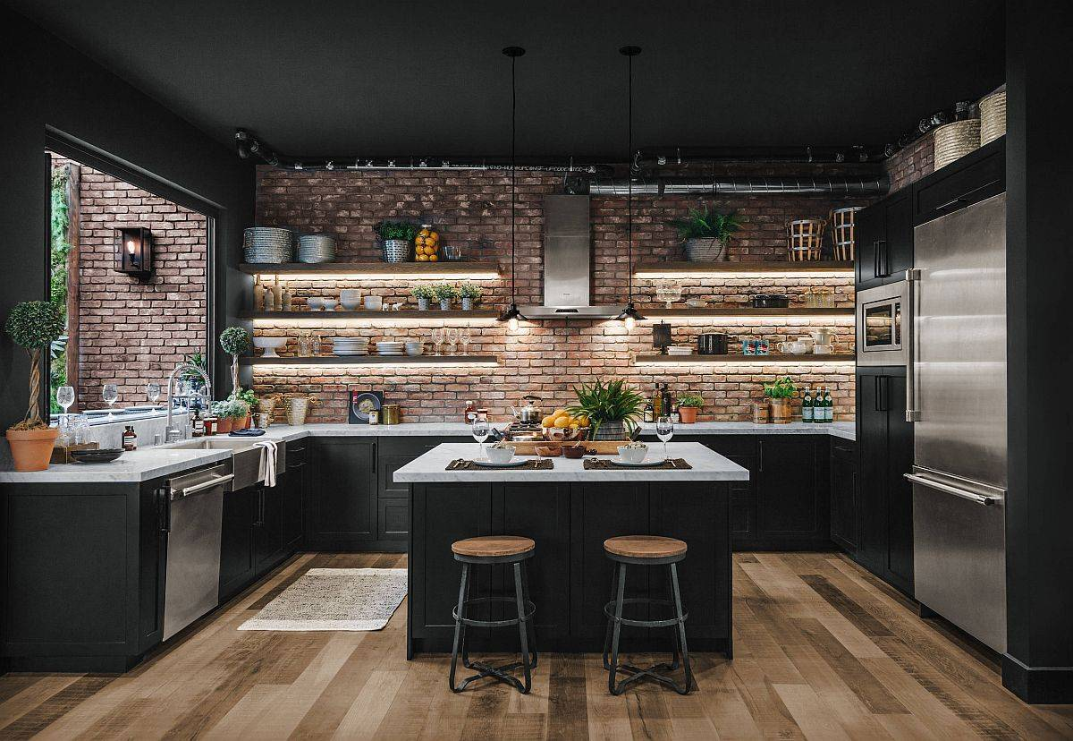 LED-strip-lights-under-the-floating-wooden-shelves-add-to-the-modern-industrial-style-of-this-kitchen-26993