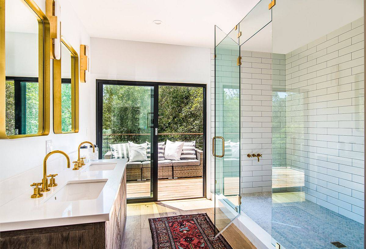 Master bathroom of the house leading to the balcony outside