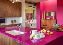 Minimalist Kitchen with Hot Pink Countertop