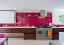 Minimalist Kitchen with Hot Pink Countertop or Backsplash