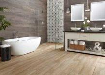 Minimalist Wood Tile Bathroom With Gray Marble Tile