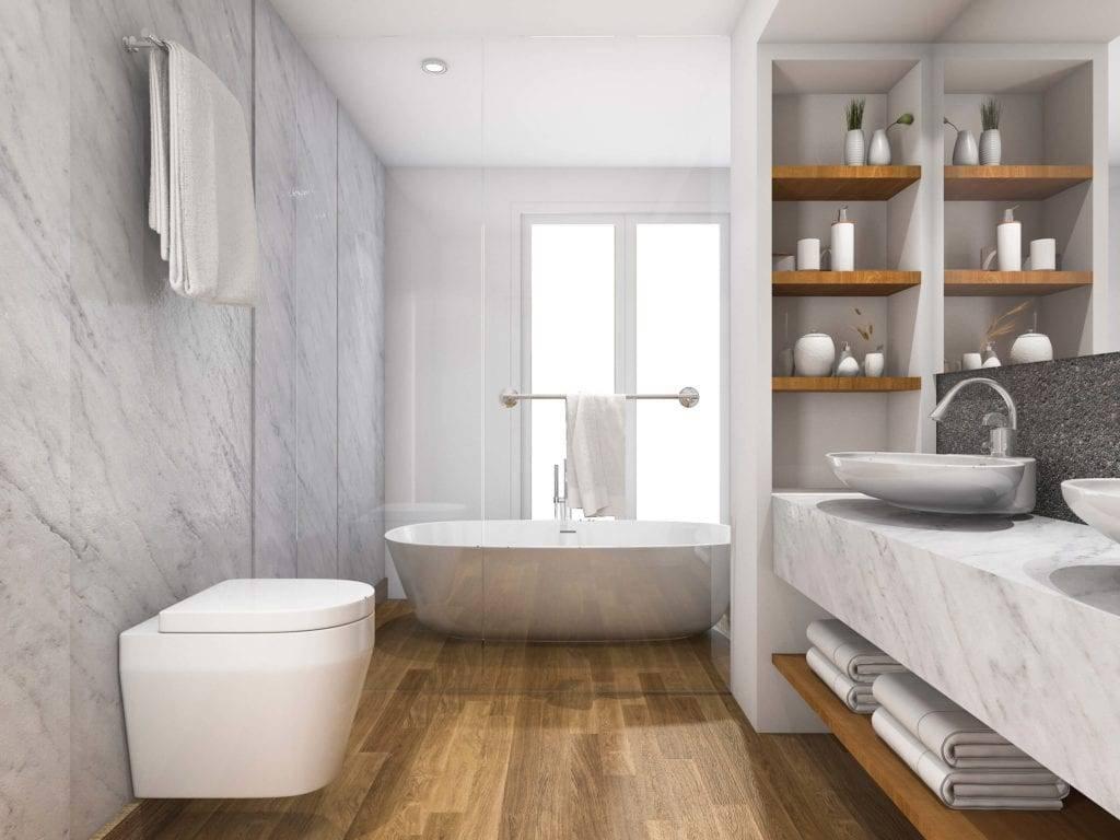 Minimalist Wood Tile Bathroom With Gray Marble Tiles