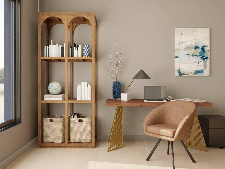 Kantor rumah modern dengan warna bersahaja