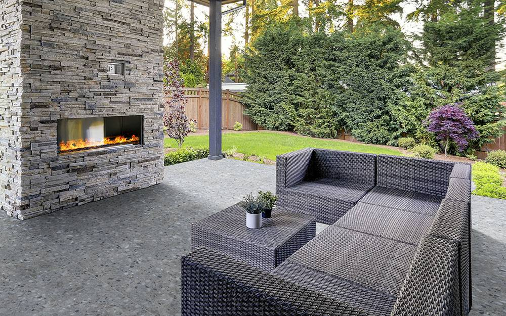 Outdoor Stone Fireplace.