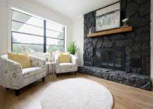 Painted Stone Wall in Black