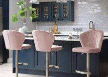Pink Cushioned Stools and Pendant Lamps