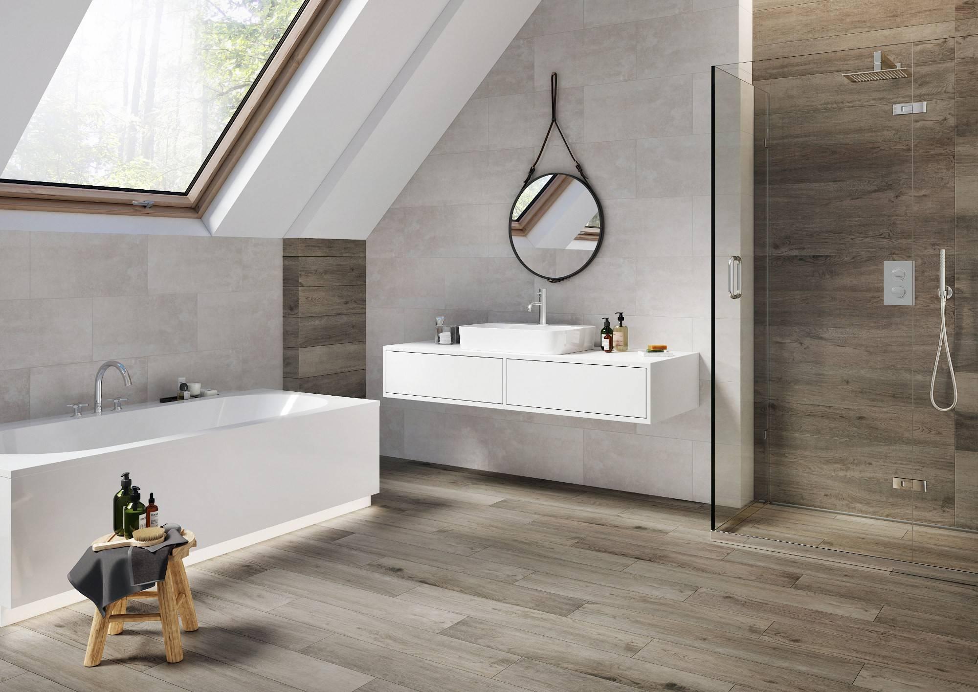Plank Like Wood Tile Bathroom.