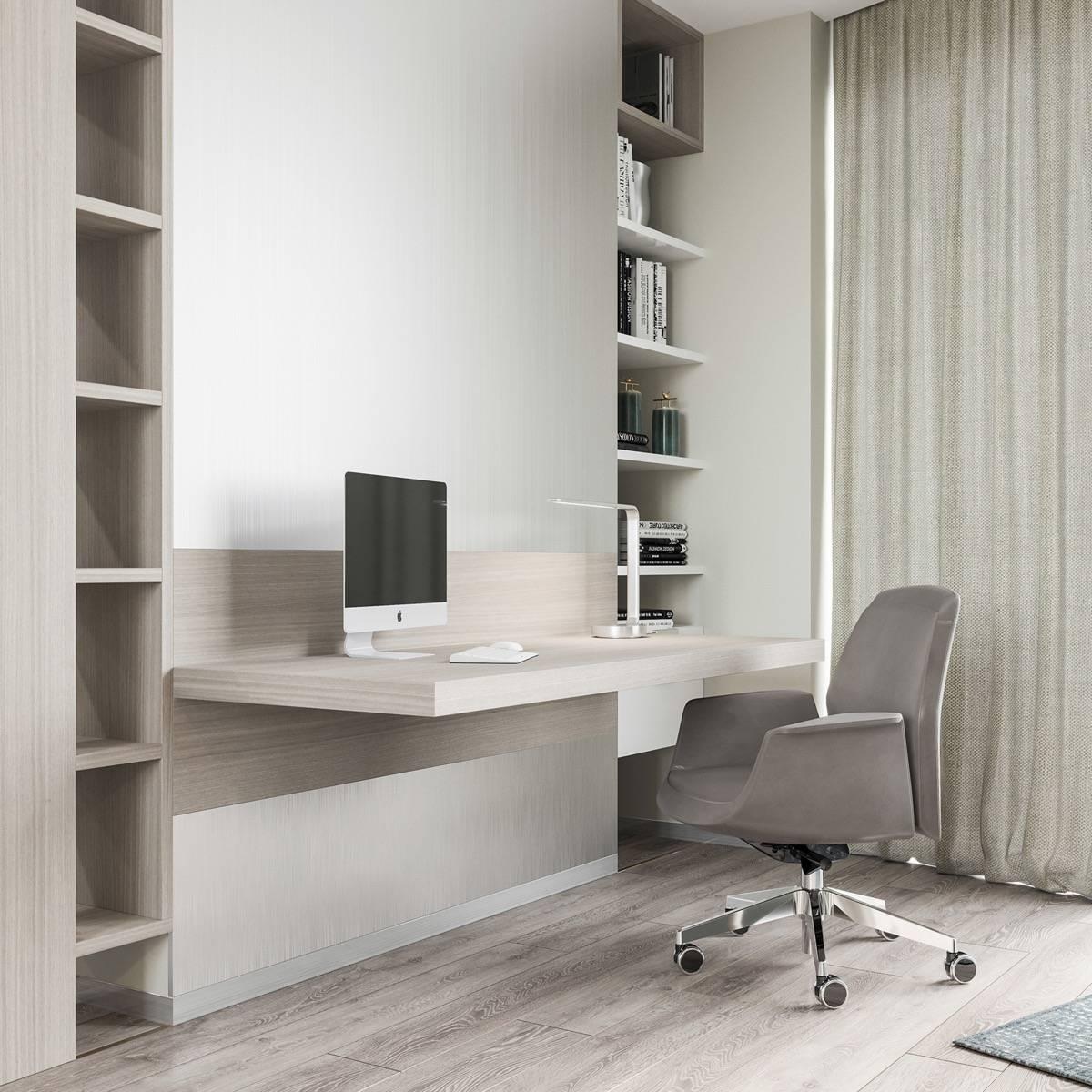 Kantor berdesain simpel dengan rak terbuka