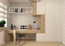 Simple Designed Office With Open Shelving.