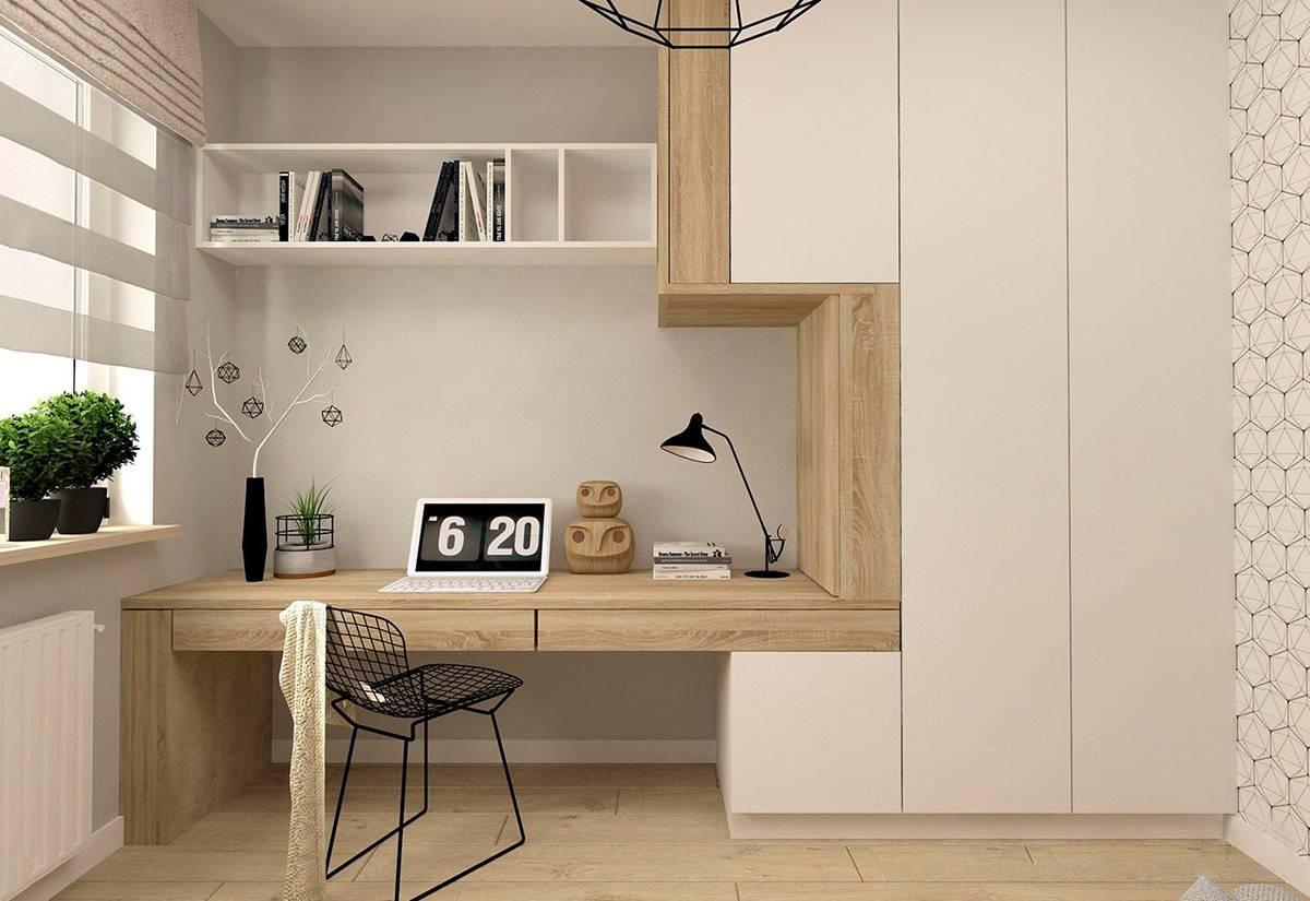 Kantor berdesain simpel dengan rak terbuka.